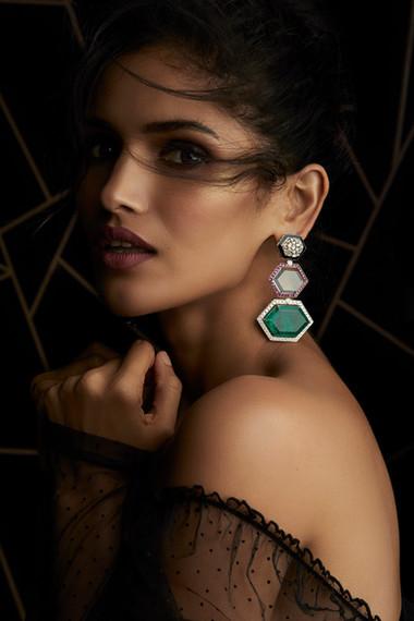 QUINTESSENTIAL DECO EARRINGS FEATURING DIAMONDS, COLOURED STONES & BLACK ENAMEL.