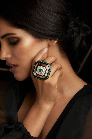 DECO GLAMOUR AT ITS FINEST - LUXE DIAMOND & EMERALD RING FEATURING CRYSTAL & BLACK ENAMEL.