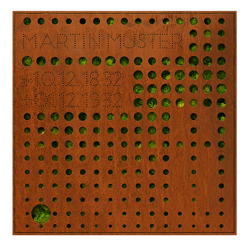 Urnengrabmal und Grababdeckung Filter, Cortenstahl
