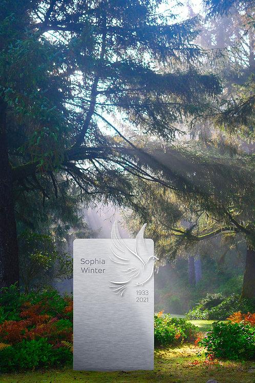 Grabmal Friedenstaube in Edelstahl und Farbe