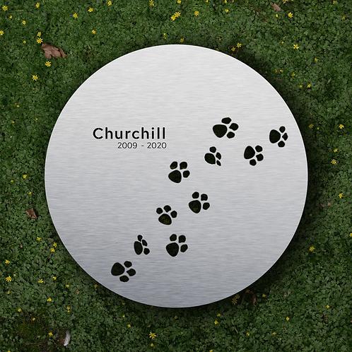Haustier Grabmal Pfote für Hunde in Edelstahl