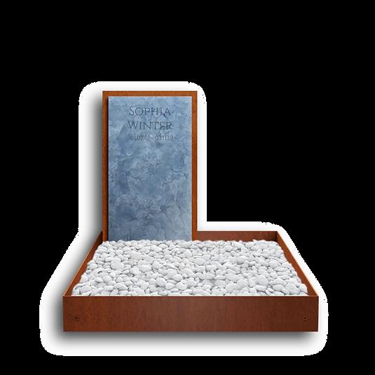 Modernes Urnengrabmal aus Cortenstahl und Recyclingglas