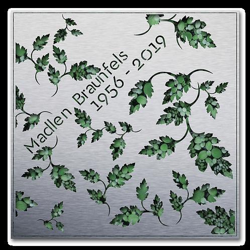 Urnengrabmal und Grababdeckung Flora, Edelstahl