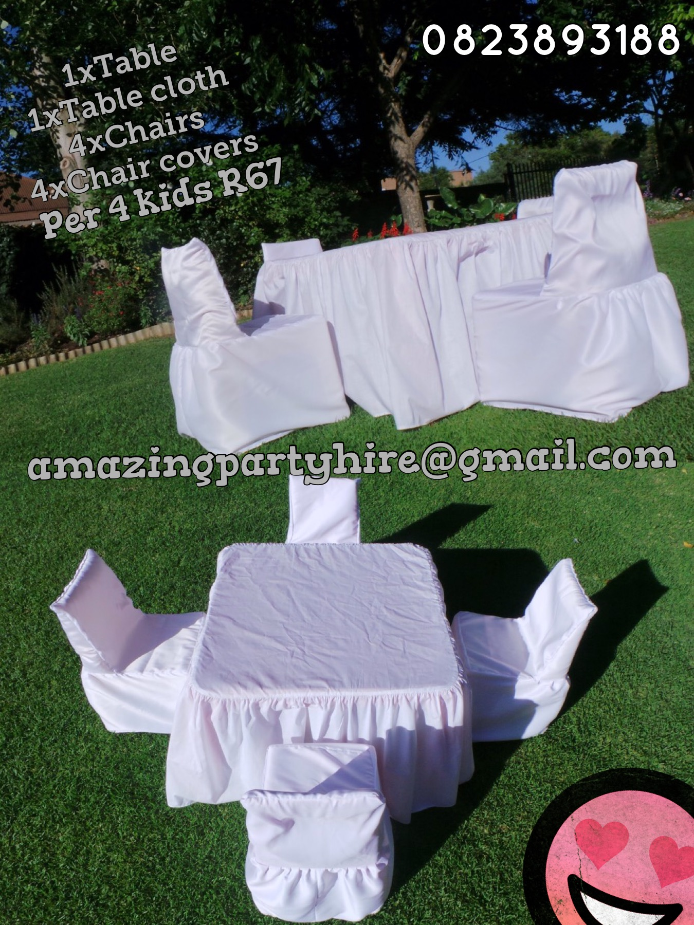 Table and Chairs with covers