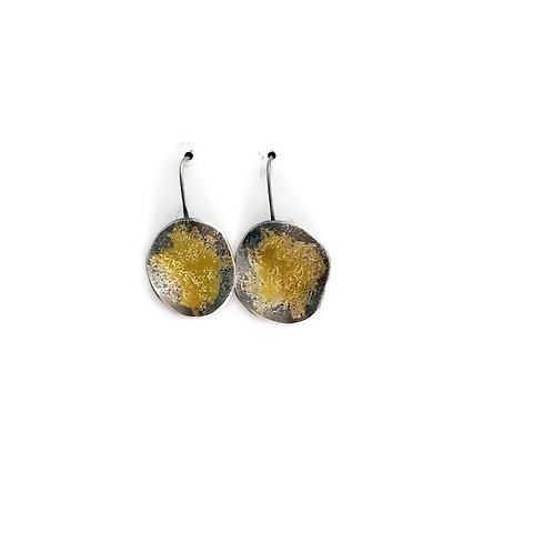Fine Silver, Sterling Silver and gold earrings