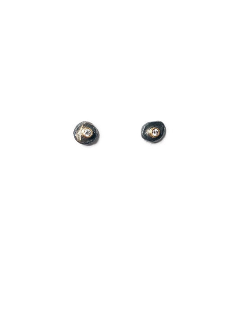 diamond gold and silver stud earrings