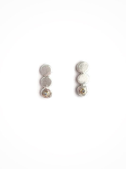 Silver and diamond earrings with 18K gold or sterling silver