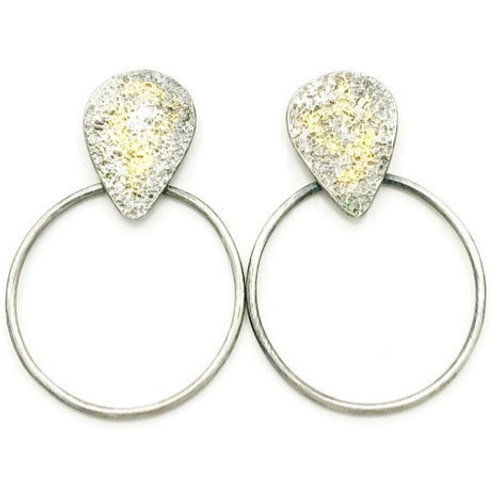 Gold and silver abstract teardrop and circle earrings for women.