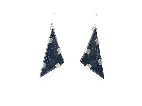 Indonesian palm wood triangle earrings.