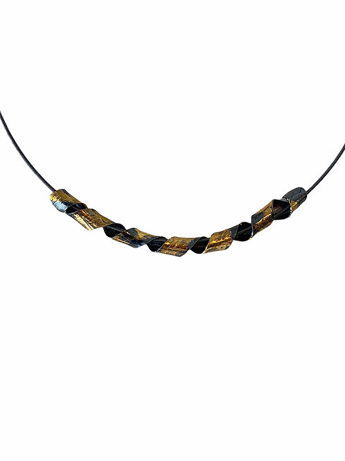 Silver and gold ribbon necklace