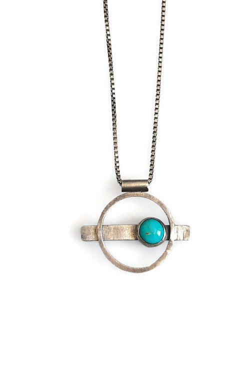 Royston Turquoise circle necklace set in textured and oxidized sterling silver.
