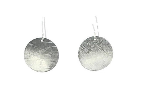 Small circle dangle earrings set in sterling silver.