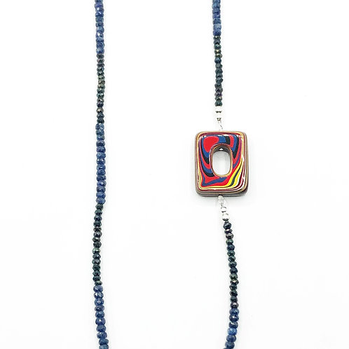 Sapphire beaded Fordite necklace with sterling silver and pyrite.