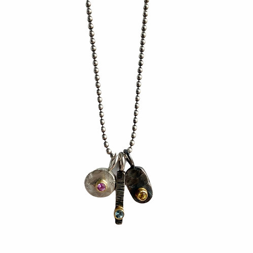 Sapphire Trio Charm Necklace