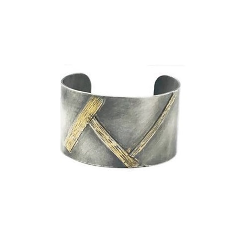 Silver and gold bamboo cuff bracelet.