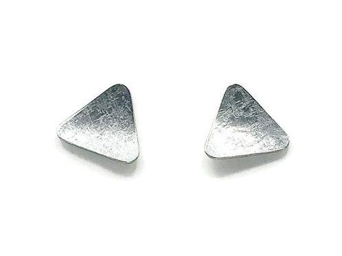 Triangle stud earrings in sterling silver.