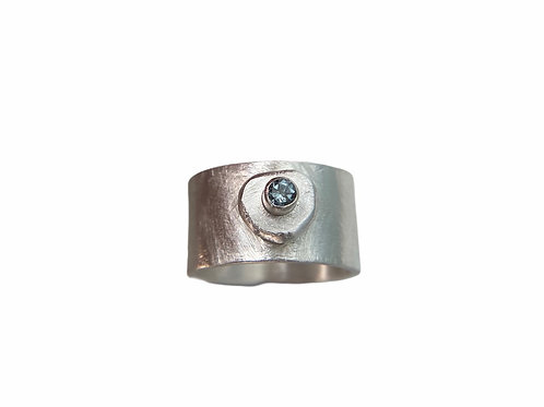 Wide Band Ring with Organic Gemstone Accent