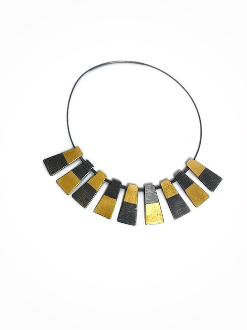 RBG collar  necklace with fine silver and 24K gold