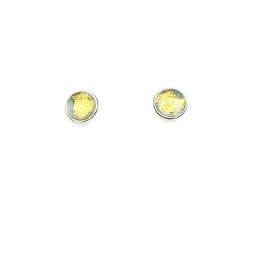 Silver and gold abstract circle stud earrings for women.