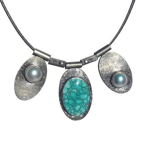 Bold Turquoise, Pearl & Diamond Necklace
