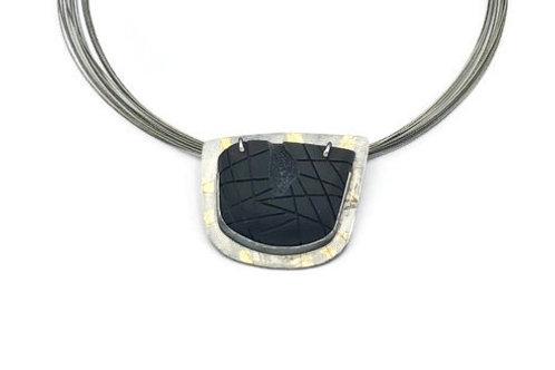 Black carved chalcedony druzy necklace.