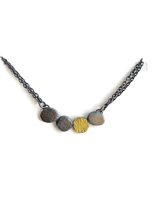 oxidized silver and gold necklace