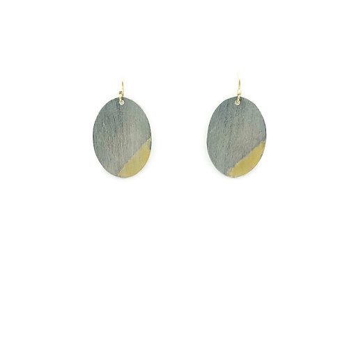 Oval and gold earrings.