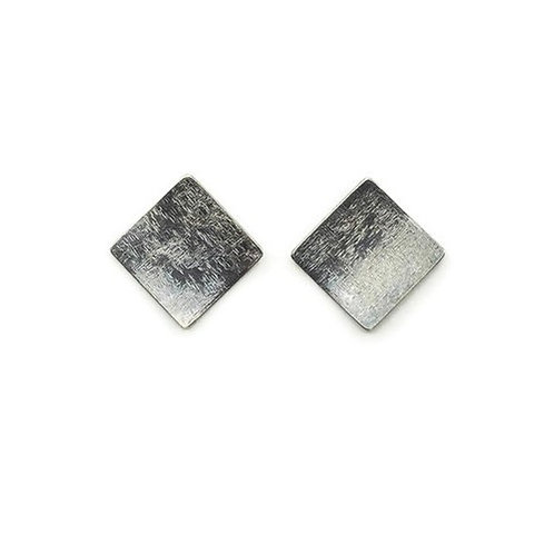 Square stud earrings in sterling silver.