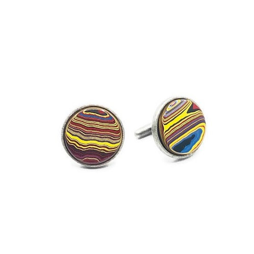 Small Fordite cufflinks for men set in sterling silver.