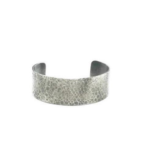 Sterling silver bubble print cuff bracelet.