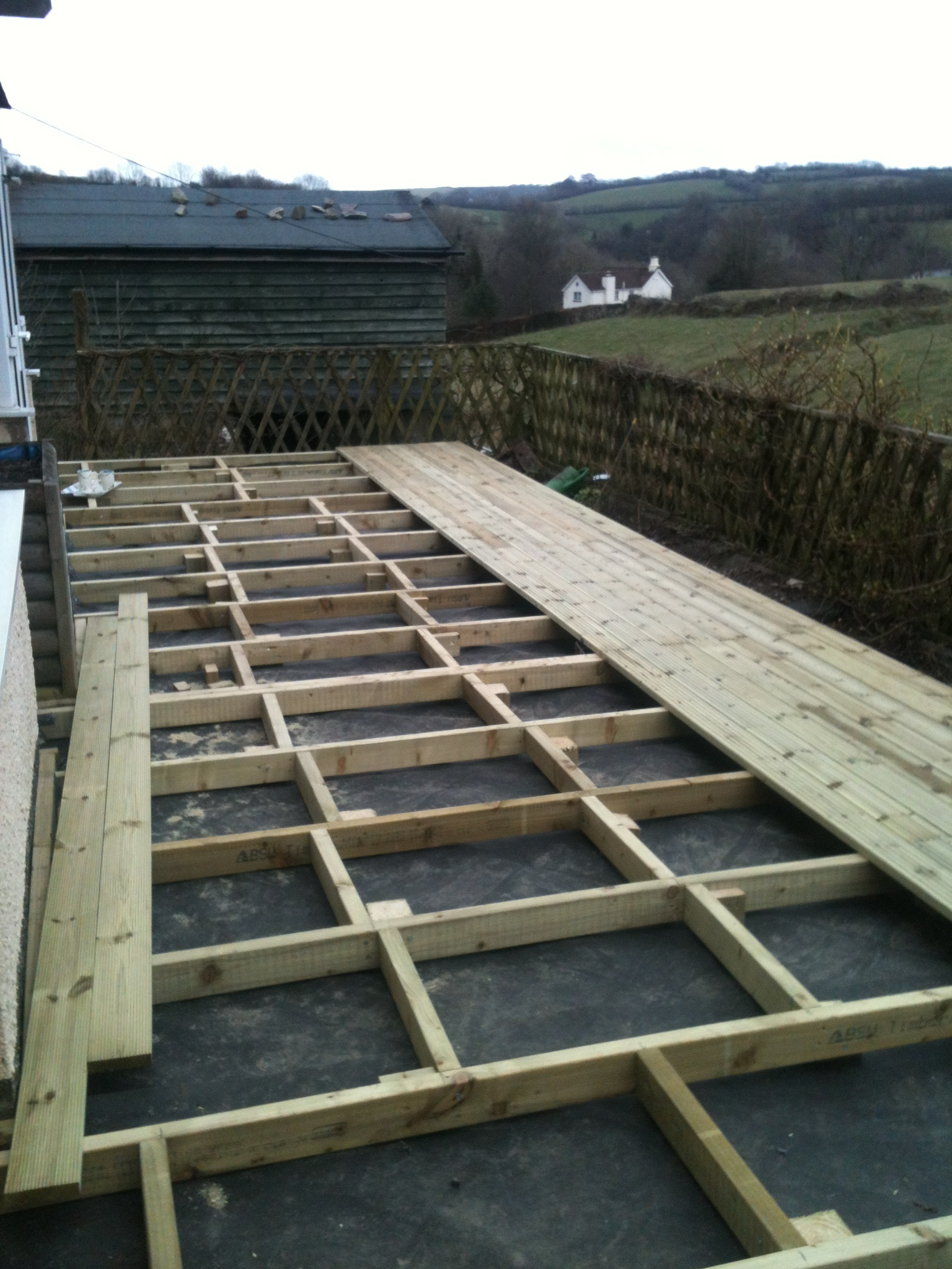 stud work for decking