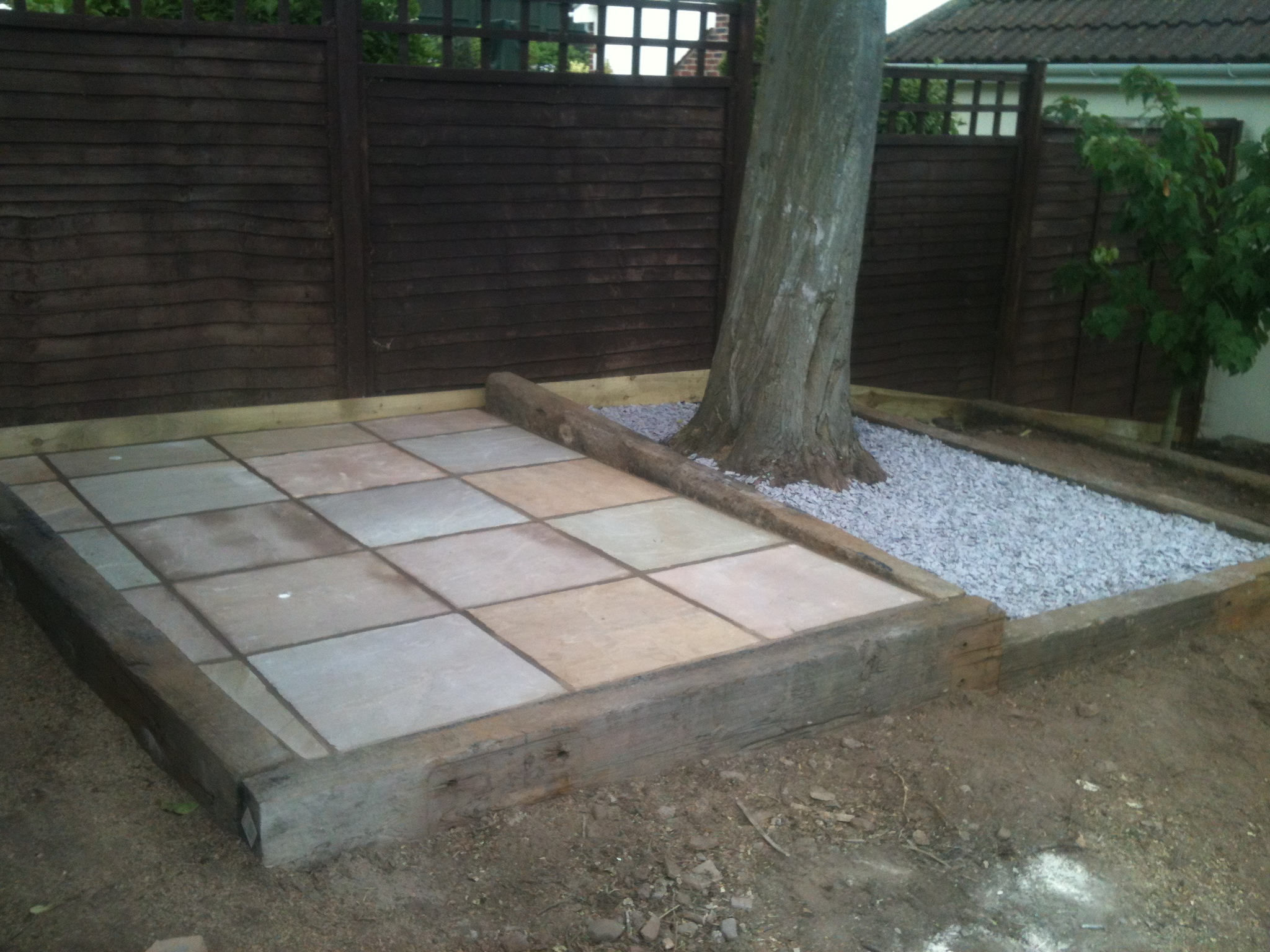 railway sleepers and patio area