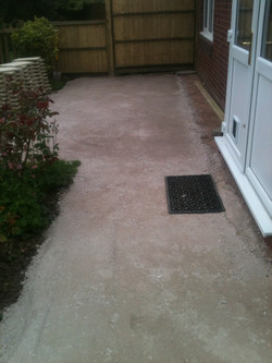 stoned area prepped for patio