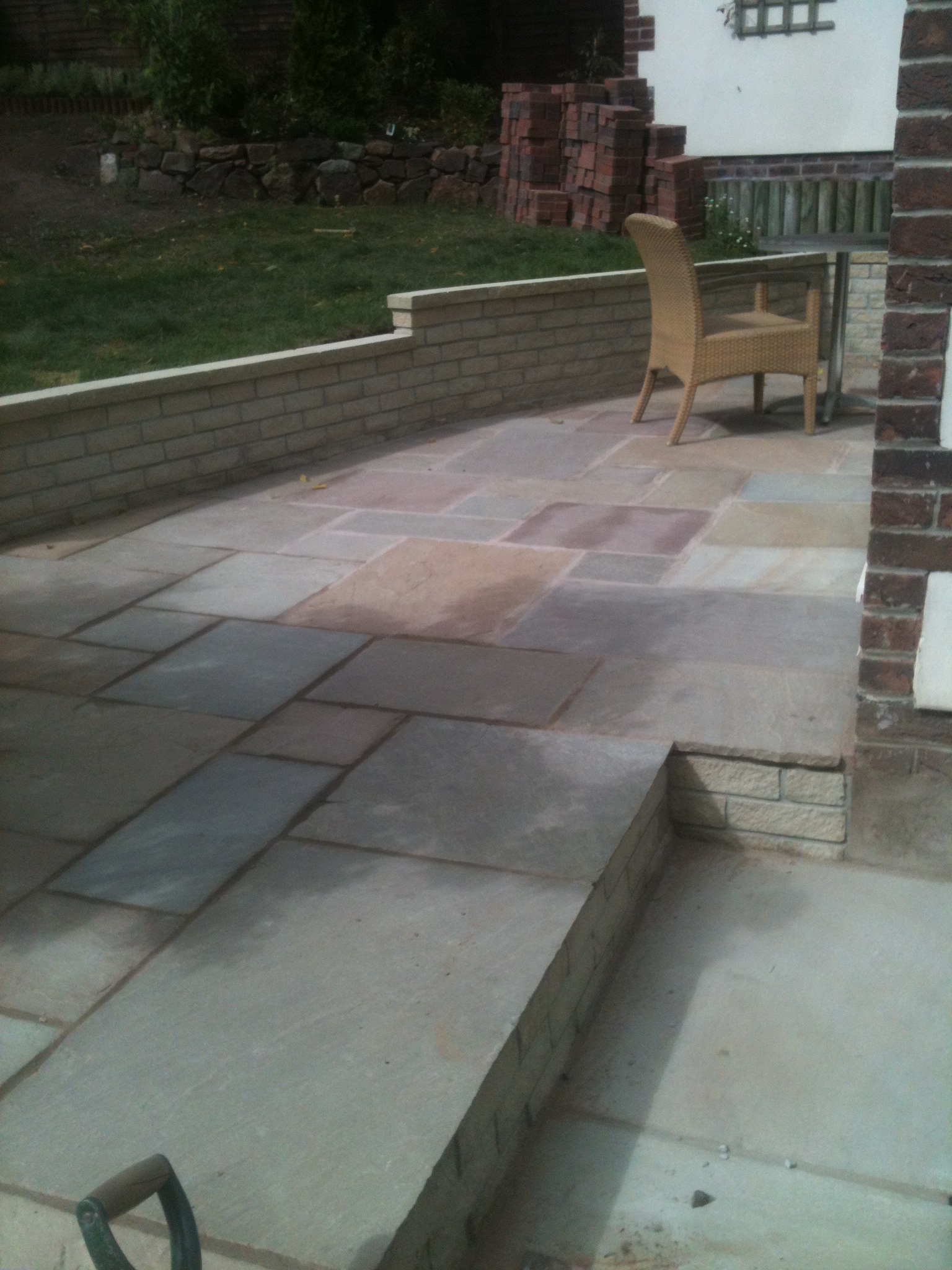 Indian sandstone patio and walling