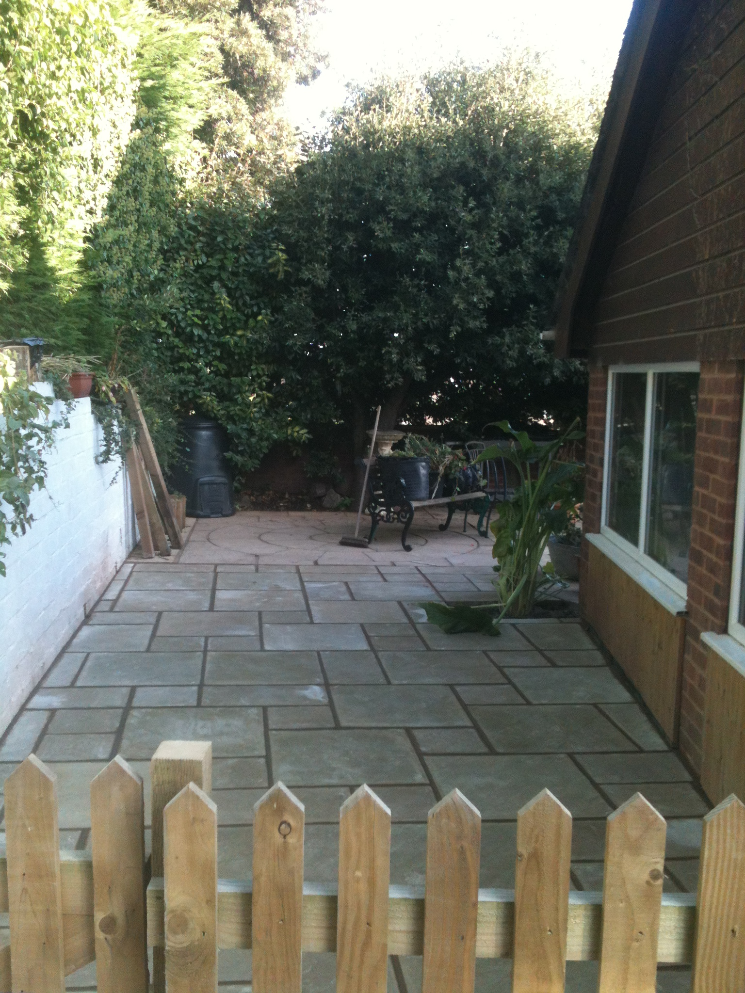 finished patio area