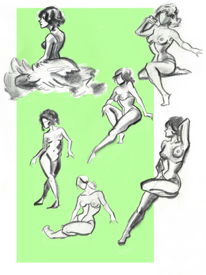 figure drawing, live drawing, corset, tutu, dancer