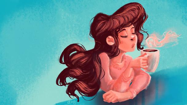 digital painting of a brunette girl drinking tea, self portrait