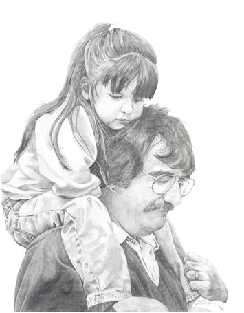 pencil portrait of father and daughter, self portrait, traditional media