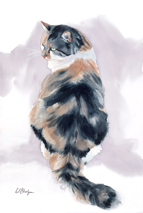 watercolor pet portrait, calico cat