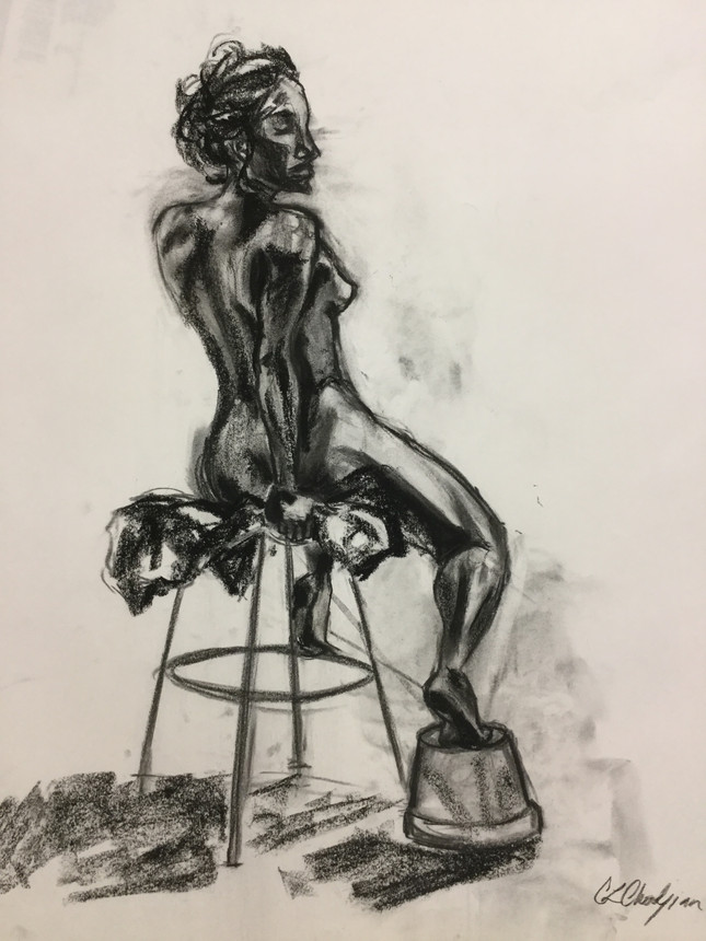 live model, life drawing, figure drawing, charcoal drawing