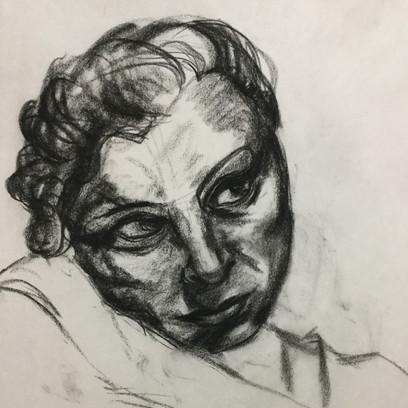 charcoal portrait, life drawing, live model, figure drawing