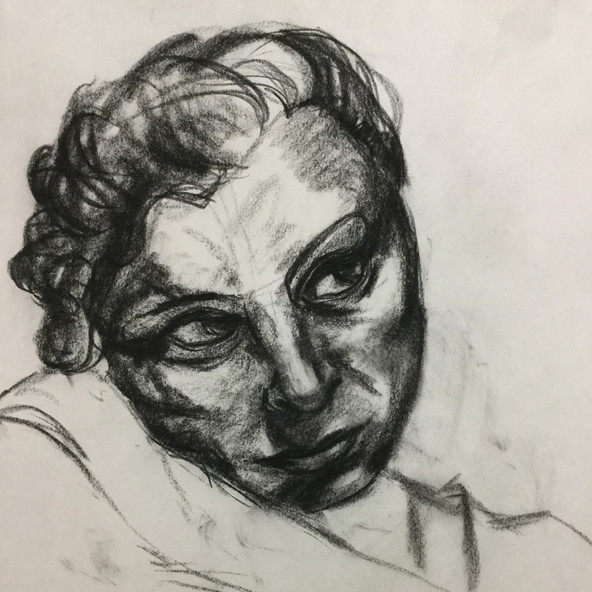 charcoal portrait, life drawing, live model, figure drawing