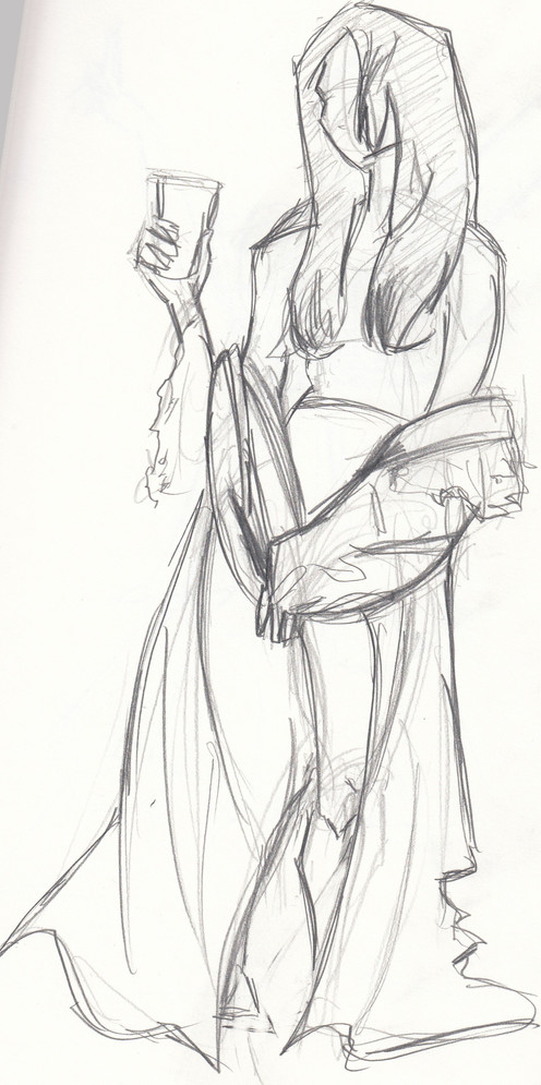 life drawing, live model, figure drawing, pencil, sketchbook page