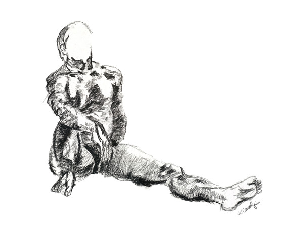 figure drawing, life drawing, live model, contour drawing, cross contour, charcoal pencil