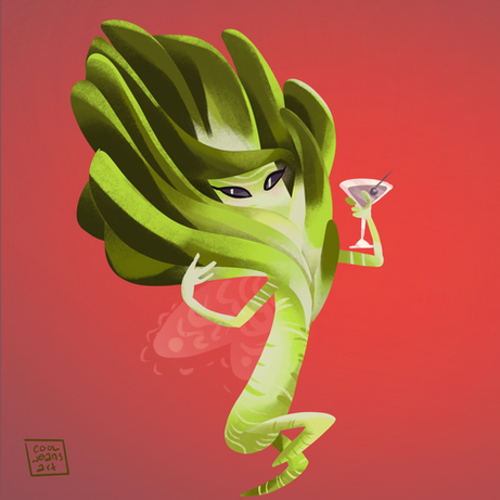 digital painting, procreate, onion, fairy, leek, martini