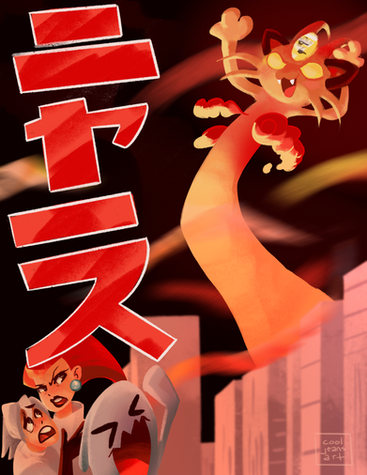 team rocket, godzilla, meowth, gigantamax, dynamax, pokemon fanart