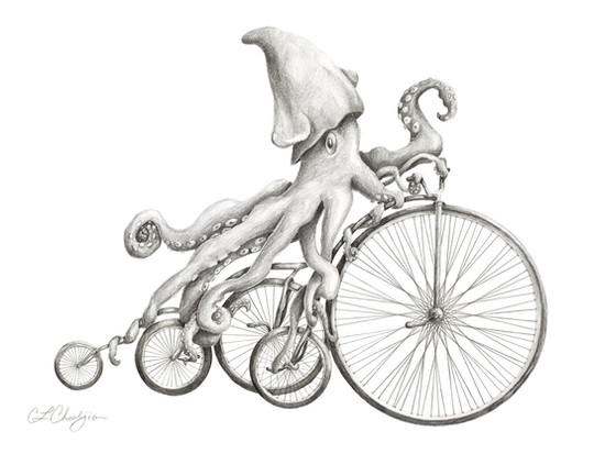 pencil drawing of squid riding a bicycle