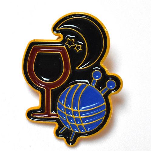 Yarn and Wine Logo Pin