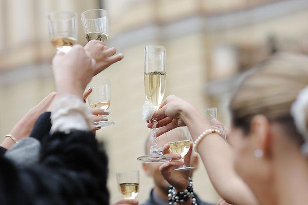 Wedding celebration with champagne glass