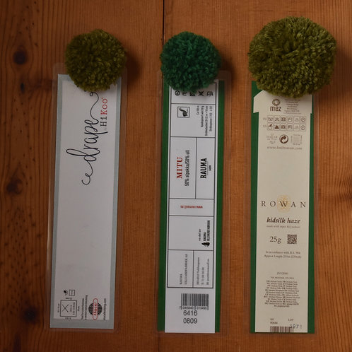 Recycled Yarn Label Bookmark with Green Pom Pom